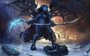 Picture flame, magic, wings, braid, WoW, World of Warcraft, Tauren, fanart, pvp, Deathknight