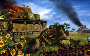Picture T-28 Soviet medium tank, is fighting, 1942. Battle for Kiev, right padded German tank Pz.Kpfw.IV …