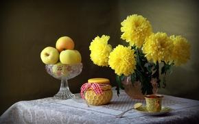Wallpaper still life, Cup, chrysanthemum, apples, jar, yellow