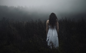 Picture field, forest, girl, fog, mood, white, hair, back, dress, depression, Wallpaper from lolita777, PMS