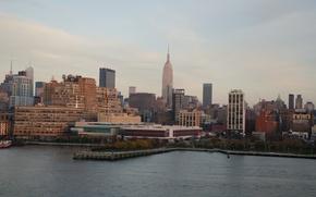 Picture sea, city, building, the evening, USA, USA, promenade, sea, New York, evening, New york
