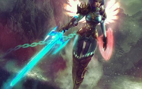 Picture girl, magic, wings, sword, art, MAG, shield, Guild Wars 2, armor