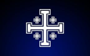 Picture the crusaders, Jesus Christ, God, Christianity, dark blue background, The Jerusalem cross