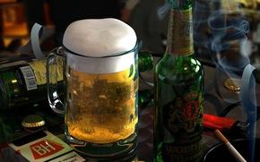 Wallpaper cigarette, glass, Beer, bottle