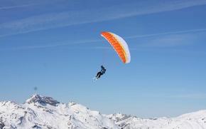 Picture winter, the sky, snow, flight, mountains, ski, ski, extreme sports, canopy, speedglider, speed rider