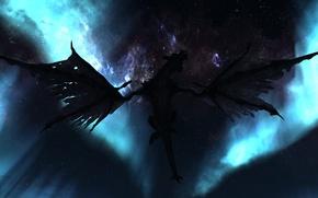 Picture the sky, stars, flight, night, dragon, wings, silhouette, Skyrim, The Elder Scrolls V, Skyrim