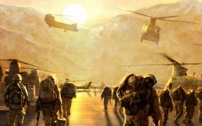Picture desert, military, medal of honor, helicopter, special operations