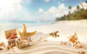 Picture vacation, message in a bottle, message, shore, beach, sunshine, shell, sand, sea, summer, tropical, the ...