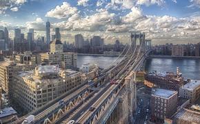 Picture auto, bridge, river, view, building, New York, Brooklyn, USA, Manhattan