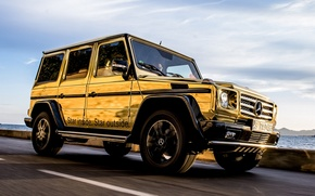Picture jeep, Mercedes-Benz, spec.version, gold, Mercedes, the front, the sky, SUV, Festival de Cannes, G-Class
