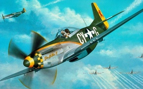 Picture Mustang, fighters, P-51, North American, the side, b-17