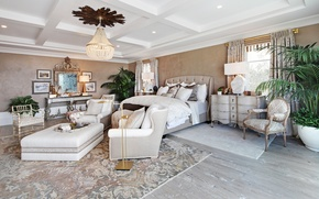 Picture bed, chair, mirror, mansion, Design, bedroom, Interior, Bedroom