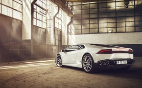 Picture Lamborghini, White, Supercar, 2014, Rear, Huracan, LP610-4