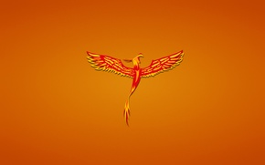 Wallpaper bird, minimalism, red, Phoenix, phoenix, fenix, reddish background
