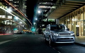 Picture night, the city, Parking, Land Rover, Range Rover, Sport