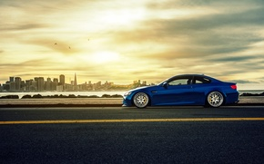 Picture the city, BMW, BMW, profile, blue, E92