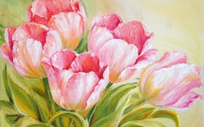 Picture leaves, flowers, paint, bouquet, picture, spring, tulips, pink, painting