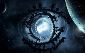 Picture the wreckage, planet, station, the portal, Space