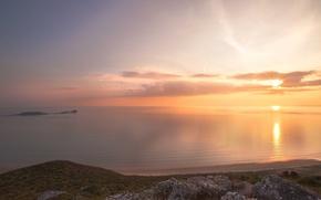 Picture sea, beach, sunset, stones, calm, calm