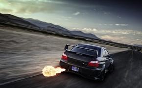 Picture flame, speed, Subaru, Impreza, blur, black, WRX, black, exhaust, rear, Subaru, Impreza, STi