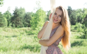 Picture look, pose, smile, background, Girl, dress, Dana P