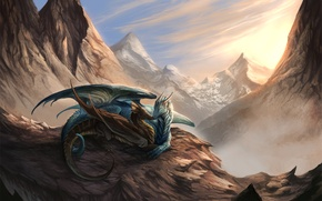 Picture light, snow, mountains, pair, Dragons