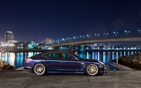 Picture blue, profile, porsche, Porsche, blue, Panamera, panamera s