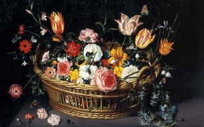 Picture picture, still life, Jan Brueghel the younger, Basket with Flowers