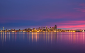 Picture lights, USA, Space Needle, United States, skyline, night, sunrise, reflection, buildings, downtown, skyscrapers, cityscape, seattle, …