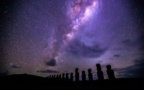 Picture Easter Island, structure & formation, Moai, under the Milky Way, Ahu Tongariki