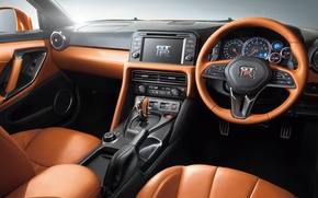 Picture panel, interior, the wheel, Nissan, GT-R, salon, Nissan, R35, torpedo
