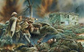 Picture water, figure, explosions, destruction, battle, dirt, art, soldiers, equipment, shots, machine gun, British, German, heavy, …
