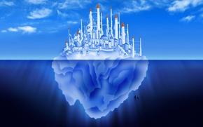 Wallpaper iceberg, vector, blue, the city