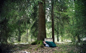 Picture forest, girl, the situation, suitcase