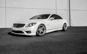 Picture Mercedes, white, V12, CL600, frontside