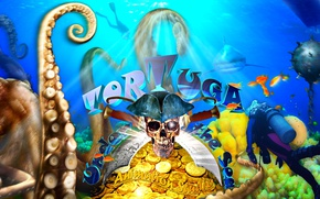 Picture sea, fish, gold, island, skull, the bottom, shark, positive, the diver, show, pirates, octopus, good ...