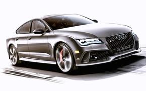 Picture Concept, Audi, Audi, the concept, white background, sedan, RS 7