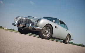 Picture grey, Aston Martin, classic, 1964, DB5, the James bond car