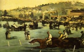 Picture landscape, picture, horse, jockey, genre, Edouard Manet, Races in the Bois de Boulogne