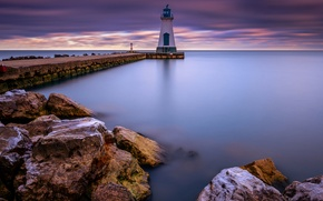 Picture the city, lake, lighthouse, morning, excerpt, Canada, Ontario, province, Port Dalhousie, St. Catharines