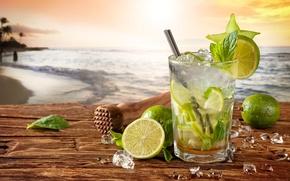 Wallpaper cocktail, summer, beach, fresh, sea, paradise, drink, mojito, cocktail, lime, Mojito, vacation, mint, tropical