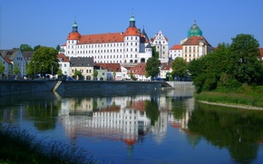 Picture home, trees, castle, tower, Neuburg on the Danube, Germany, the sky, promenade, river