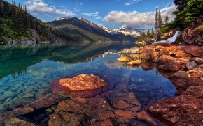 Picture reflection, mountains, slope, water, Canada, rocks, Garibaldi, clouds, forest, landscape, snow, tree, trees, lake, the ...