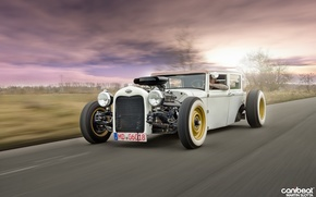 Picture road, the sky, background, movement, Opel, driver, Rat Rod, Christian Quatz's, Change, Martin Slotta