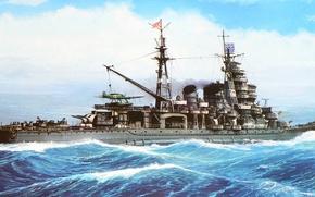 Picture ship, art, Navy, military, cruiser, Japanese, cruiser, Aoba, WW2, IJN