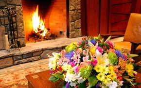 Picture macro, flowers, design, interior, bouquet, fireplace