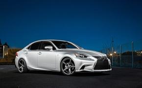 Picture night, Lexus, wheels, black, metallic, Lexus, vossen, IS250, frontside