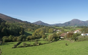 Picture mountains, field, village, Spain, mountains, fields, village, Spain, Zugarramurdi, Zugarramurdi