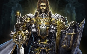 Wallpaper cross, sword, warrior, art, shield, cloak, paladin, armor