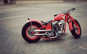 Picture red, vintage, motorcycle, bobber